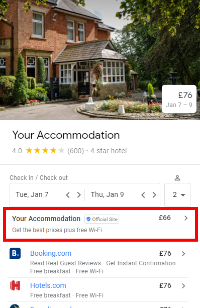Google Hotel Ads Connection with Rates